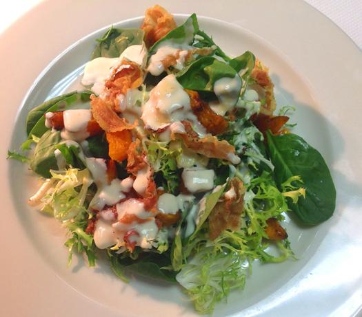 Roasted Pumpkin Salad with Warm Gorgonzola Dressing