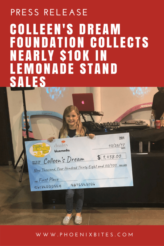 Colleen's Dream Foundation Collects Nearly $10K in Lemonade Stand Sales