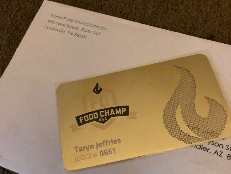 World Food Championships Judges Card