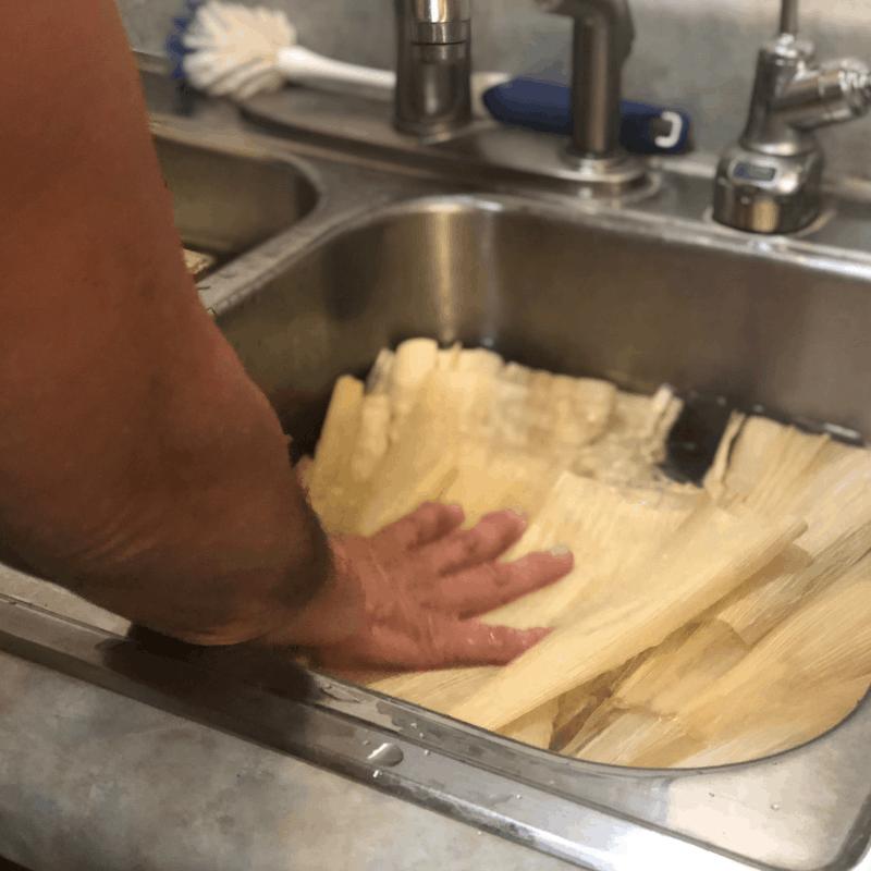 121618 soaking corn husks