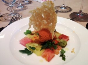 Watermelon & Tomato Salad with Piperade Sorbet and Parmesan Tuile