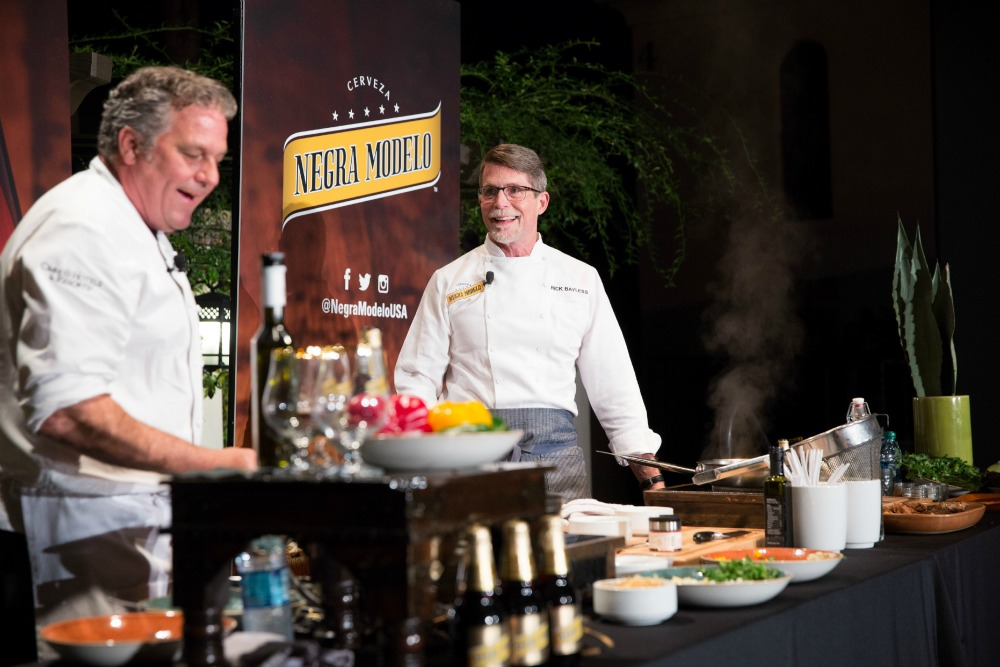 Negra Modela Chef Michael Cairns and Chef Rick Bayless Cooking