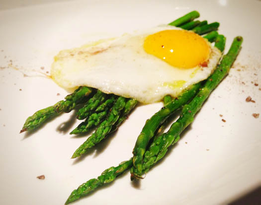 Grilled Asparagus with Egg and Smoked Sea Salt
