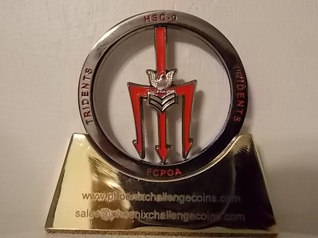 HSC-9 Trident CPOA Spinner coin by Phoenix Challenge Coins