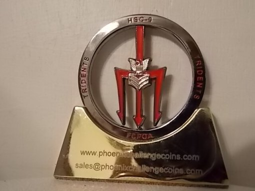 HSC-9 Trident CPOA Spinner coin by Phoenix Challenge Coins back