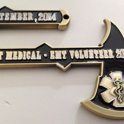 Uinta WY EMS Ft Bridger Rendezvous Tomahawk shaped coin by Phoenix Challenge Coins