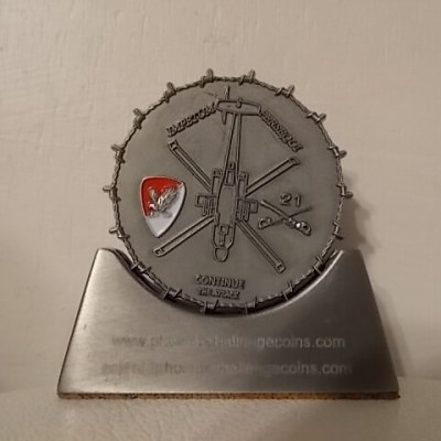 21 Air Cav Apache unit coin with realistic 3D barbed wire edge in antique silver by Phoenix Challenge Coins