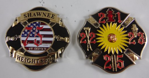 Shawnee Heights FD 75th Anniversary Custom Fire Coin by Phoenix Challenge Coins