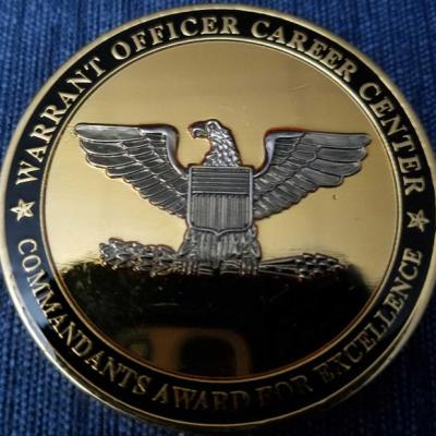 US Army Warrant Officer Career Center Commandant's Coin back