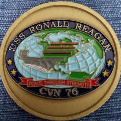 USS Ronald Regan CVN-76 Aircraft Carrier Challenge Coin