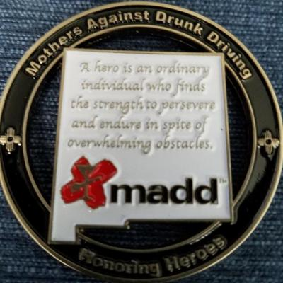 Mothers Against Drunk Driver's MADD Honoring Heroes New Mexico Challenge Coin by Phoenix Challenge Coins back