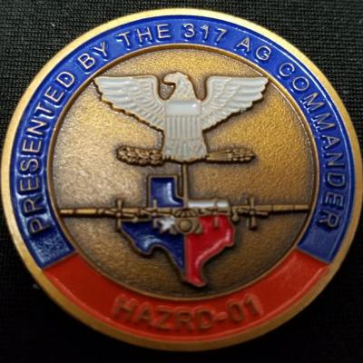 USAF 317th Air Group Hazard 1 Group Commander's Challenge Coin