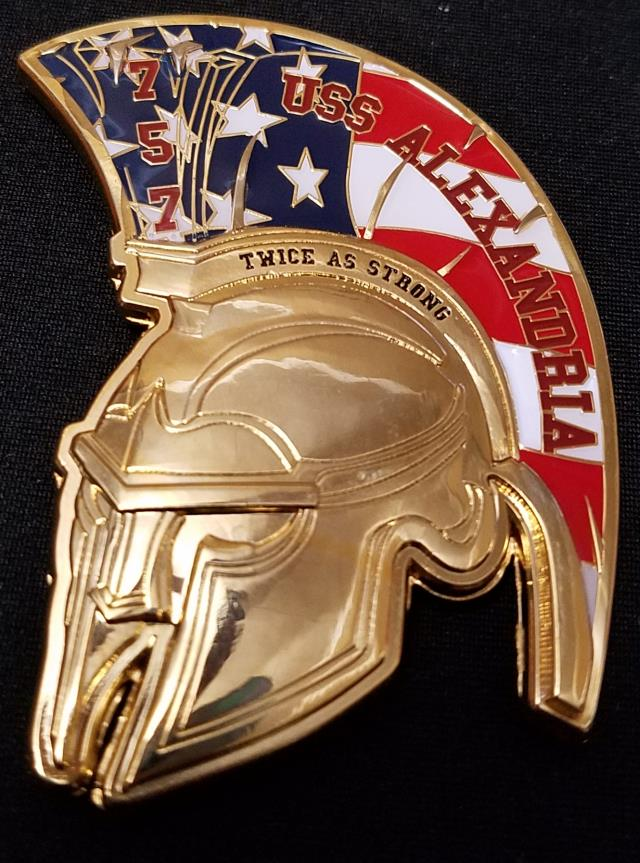 USS Alexandria Spartan Helmet Navy Chief Shaped Challenge Coin