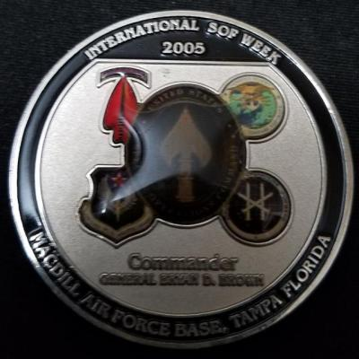 CINCUSSOCOM SOF Week 2005 General Brown Exhibitor Advance Briefing Challenge Coin back