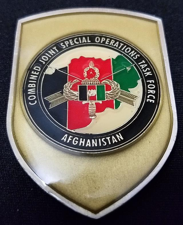 Combined Joint Special Operations Task Force Afghanistan CJSOTF-A Shield Shaped challenge coin