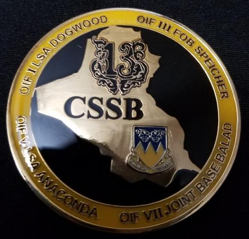 13th Combat Support Sustainment Support Battalion OIF Combat Deployment Commanders Coin back