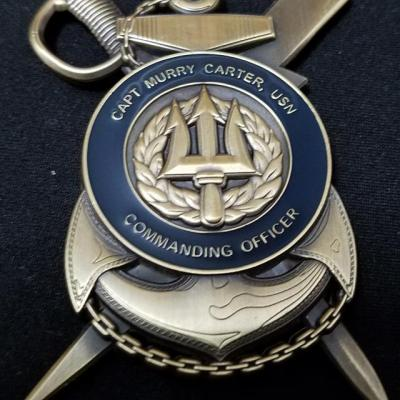 US Navy Computer and Telecommunications Center Bahrain Commanding Officer Capt Murray Carter Insignia Shaped Challenge Coin