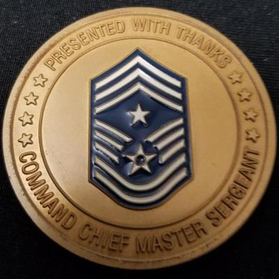 USAF 3rd Air Force Royal Air Force Base Mildenhall UK Command Chief Master Sergeant Challenge Coin back
