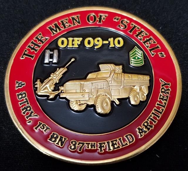 A Battery 1st BN 137th Field Artillery Men of Steel OIF 09-10 Command Team Challenge Coin by Phoenix Challenge Coins back