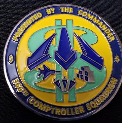 366th Comptroller Squadron, Mountain Home AFB, ID. Custom Commanders coin by Phoenix Challenge Coins