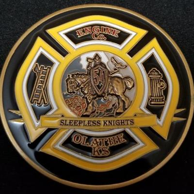 Olathe Kansas Fire Department Coin Engine 54 Fire House Challenge Coin by Phoenix Challenge Coins back