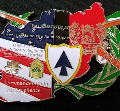 1st Bn 26th Infantry Regiment Task Force Spader OIF 11-12 Deployment Unique Shaped Challenge Coin by Phoenix Challenge Coins back