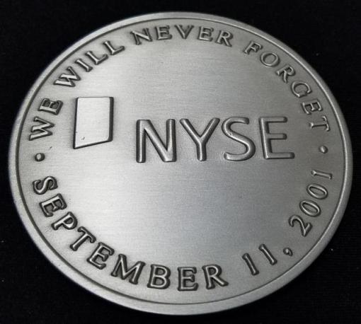 New York Stock Exchange NYSE September 11th Anniversary made By Tiffany & Co large Medallion back