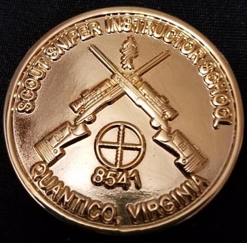 Rare USMC Scout Sniper School Instructor 8541 v2 challenge coin back