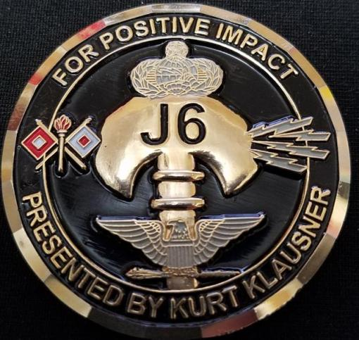 Rare JSOC J6 Joint Special Operations Command Kurt Klausner Challenge Coin back