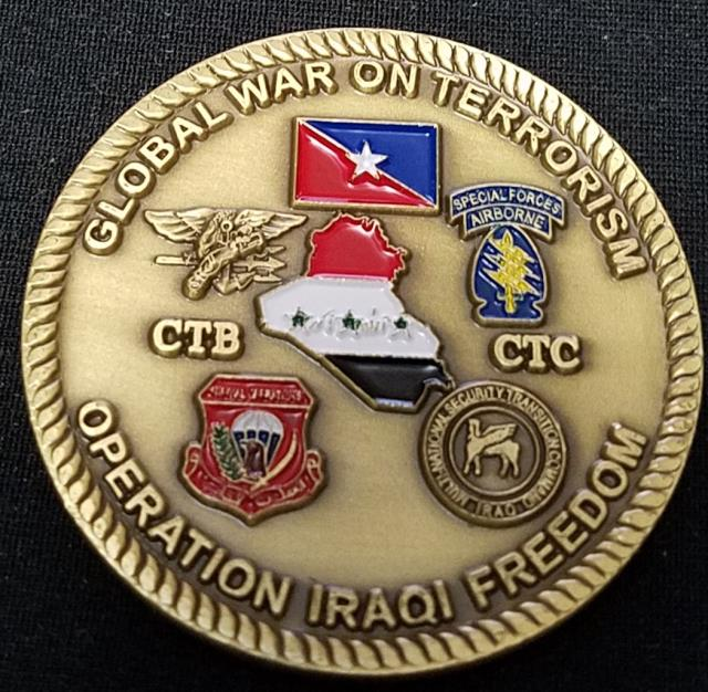 Iraqi National Counter Terror Force Transition Team Challenge Coin back