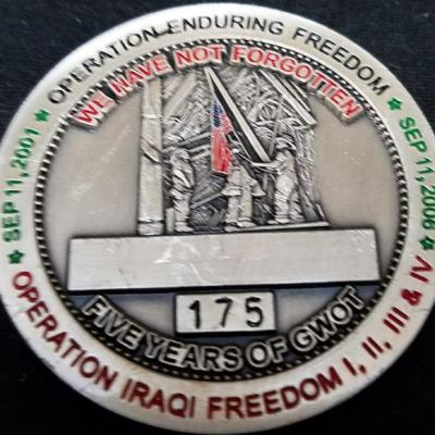 Combined Joint Special Operations Task Force-Arabian Peninsula CJSOTF-AP FOB Baghdad 5th Anniversary of 9/11 Awarded in Combat Challenge Coin Numbered 175 back