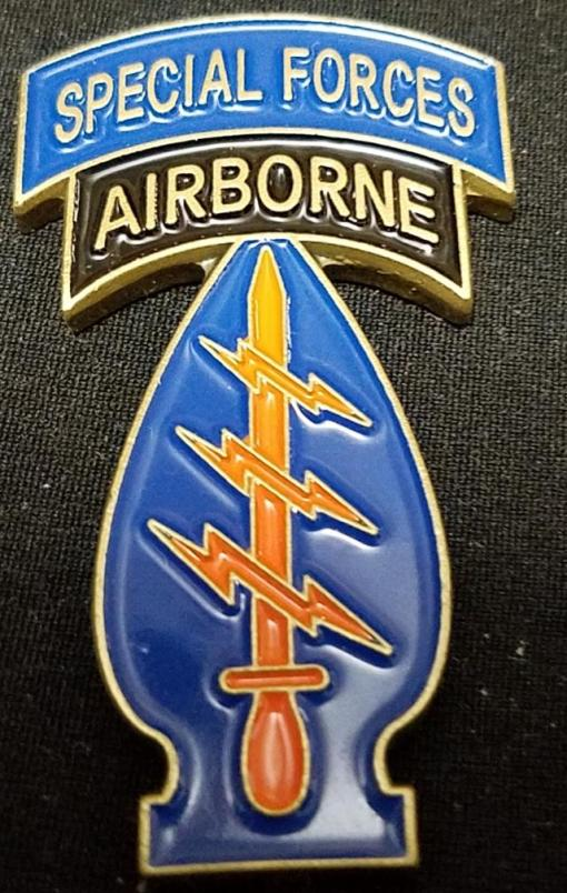 US Army Special forces Command Sergeant Major Eveland Shoulder patch and tab shaped Challenge Coin