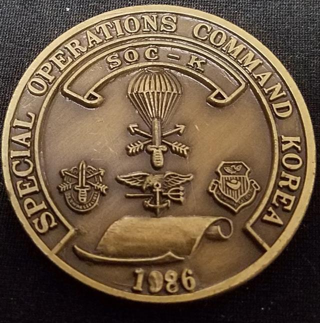 US Special Operations Command Korea SOCKOR SOC-K 1986 challenge coin BACK
