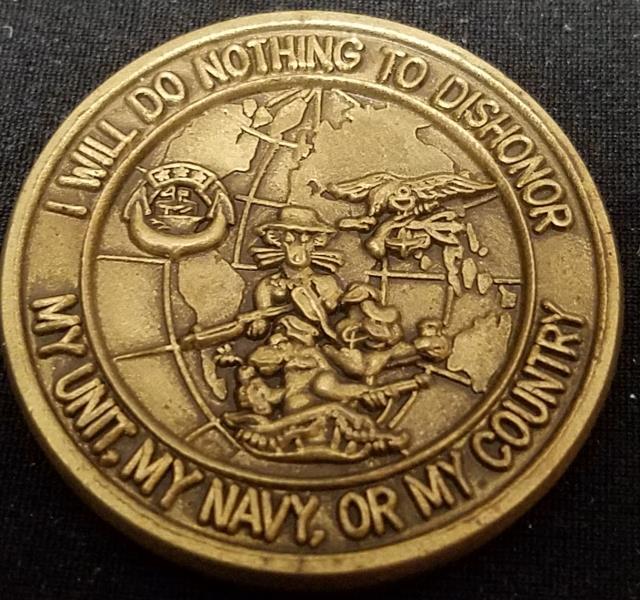 NAVSPECWARCOM BUDS SEAL Phillip H Bucklew Center V2 Challenge Coin back