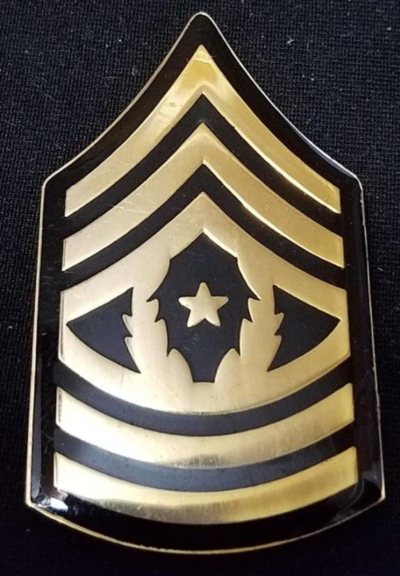 US Army John F Kennedy Special Warfare School and Center USAJFKSWCS CSM  Command Sergeant Major Rank Shaped challenge coin