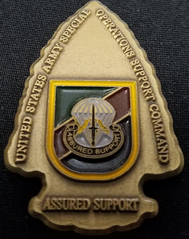 USASOSC US Army Special Operations Support Command Unique Assured Support  Arrow Head Shaped Challenge Coin - Phoenix Challenge Coins