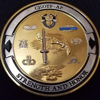 CJSOTF-AP Combined Joint Special Operations Task Force-Arabian Peninsula OIF Deployment TF- Legion V5 Challenge Coin back