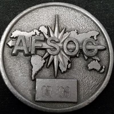 Early AFSOC Air Force Special Operations Command Coin Stamped CR '90 challenge coin back