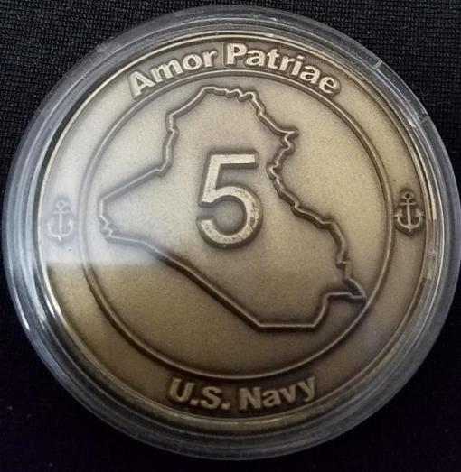US Naval Special Warfare US Navy Seal Team 5 OIF Deployment T-5 Blackbeard Challenge Coin back