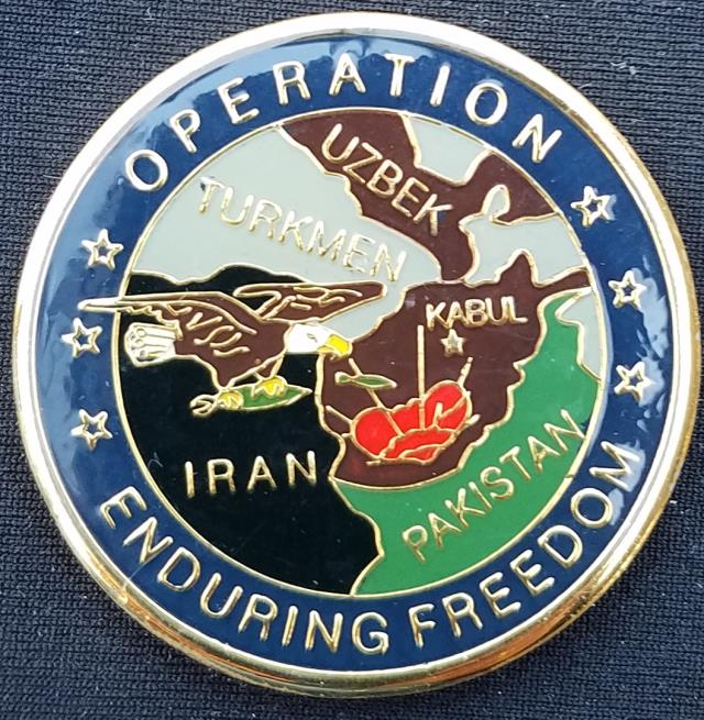 UN Operation Enduring Freedom challenge coin back