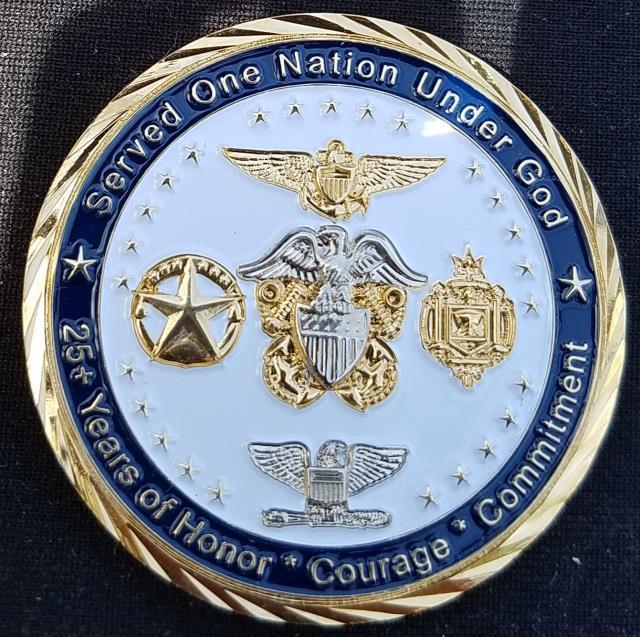Captain James Baratta USN Retirement Custom Navy Coin By Phoenix Challenge Coins back