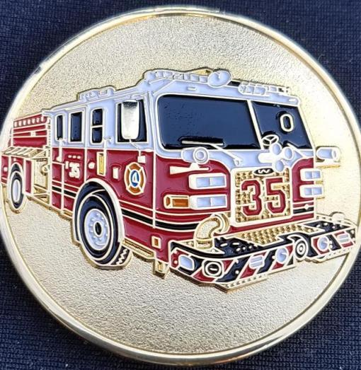 Greenbelt Fire Department Engine 35 Custom Challenge Coin by Phoenix Challenge Coins back