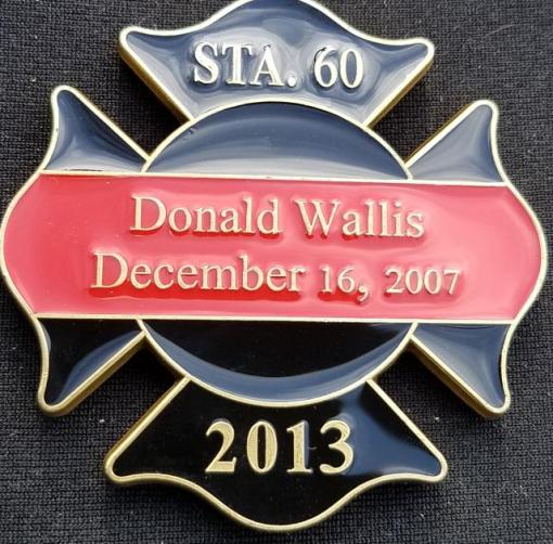 2013 Ocean County NJ Fireman's Assn shaped LODD Memorial fire coin by Phoenix Challenge Coins back