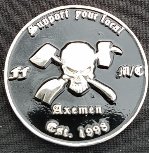 Axemen Nation MC Motorcycle Club Challenge Coin by Phoenix Challenge Coins back