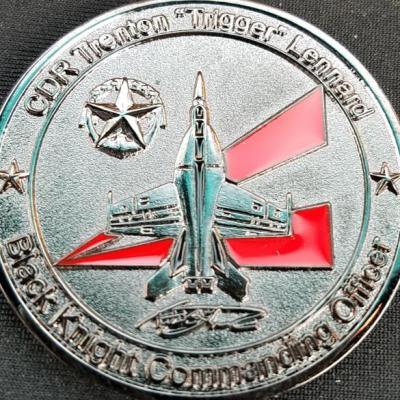 US Navy SFS-164 Strike Fighter Squadron 164 Blacknights Commanding Officer CDR Lennard Navy Coin back