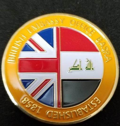United Kingdom Embassy Basrah British Ambassador to Iraq Presentation Challenge Coin back