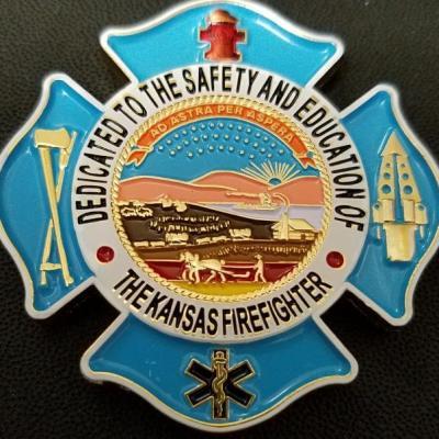Kansas State Firefighters Association Maltese Cross Shaped Challenge Coin back