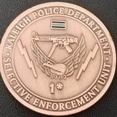 Rare Raleigh PD Swat Police coin by Phoenix Challenge Coins back