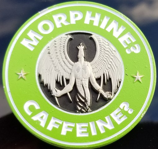 US SOF EMS Morphine Caffeine Challenge Coin Featuring multiple types oF Phoenix Challenge Coins® Armor™ Finish