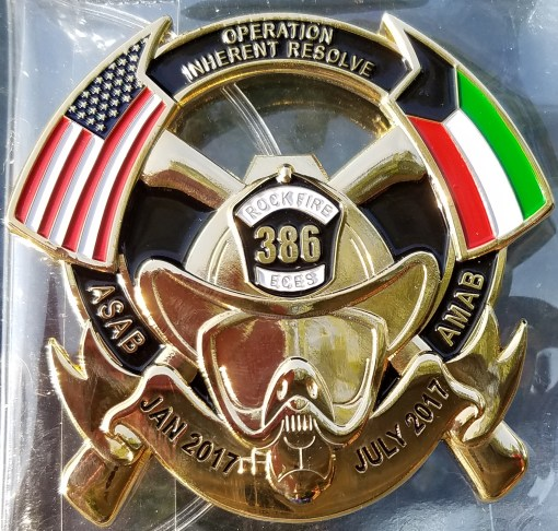 """USAF 386 ECES ASAB AMAB OIR Combat Deployment """"The Rock"""" FF Custom Challenge Coin front"""